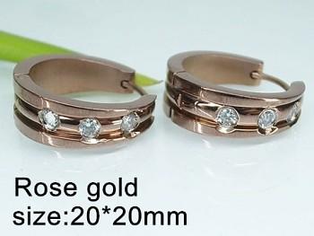Náušnice ocelové Kruhy s kamínky 20519