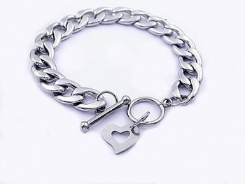 Náramek ocelový široký Srdce 20539