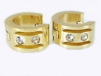 Náušnice Kruhy zlaté z chirurgické oceli 19749