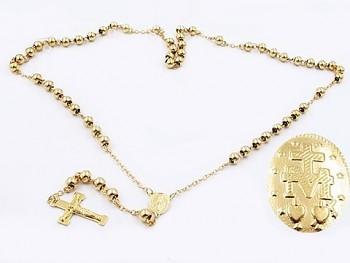Růženec z chirurgické oceli zlatý 20563