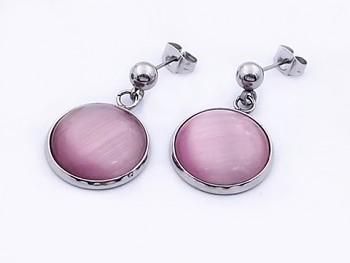 Náušnice ocelové růžové sklo 20575