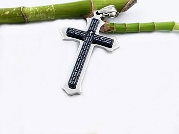 Přívěsek z chirurgické oceli kříž s modlitbou 20578