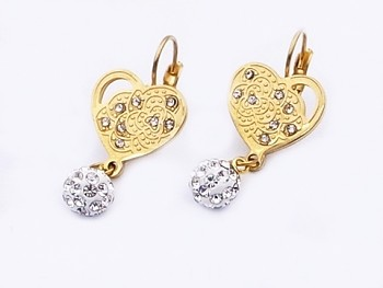 Náušnice zlaté ocelové Srdce 20595