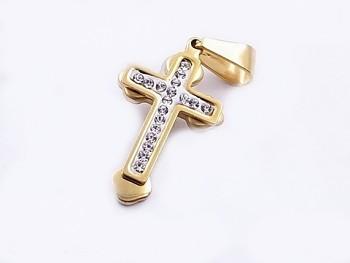 Křížek z chirurgické oceli zlatý 20609