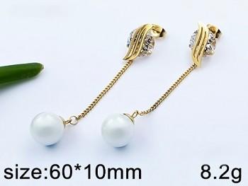 Náušnice z oceli visací perlové 20626