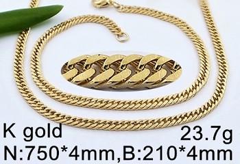 Zyta Set řetízku a náramku ve zlaté chirurgické oceli 20652