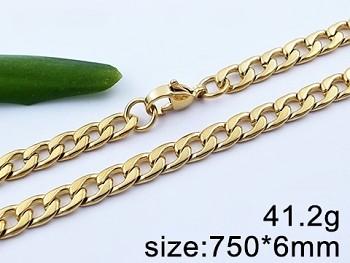 Řetízek z chirurgické oceli zlatý Unisex 20645