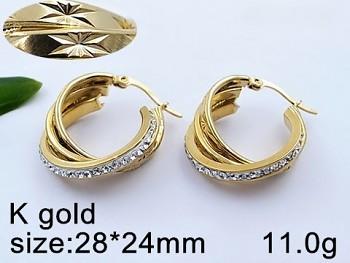 Náušnice z chirurgické oceli zlaté Kruhy 20632