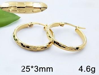 Náušnice z chirurgické oceli zlaté Kruhy 20665