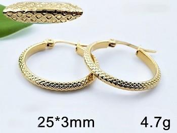 Náušnice z chirurgické oceli zlaté Kruhy 20661