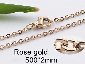 Řetízek z chirurgické oceli růžové zlato 20682