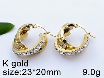 Zyta Náušnice z chirurgické oceli zlaté kruhy 20709