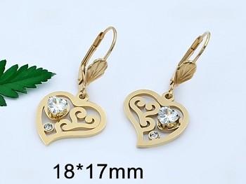 Zyta Náušnice z chirurgické oceli zlatá srdce 20716