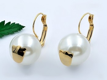 Zyta Náušnice chirugická ocel perla 20741
