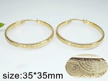 Zyta Náušnice z oceli zlaté Kruhy zdobené 20764