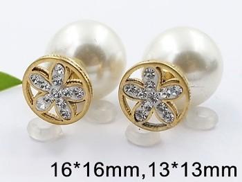 Zyta Náušnice z chirurgické oceli oboustranné perla 20781