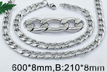 Set z chirurgické oceli náramek a řetízek 20819