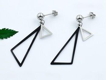 Zyta Náušnice ocelové visací trojúhelníky 20809