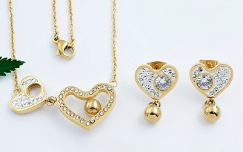 Zyta souprava chirugická ocel,  náušnice a náhrdelník srdce 20815