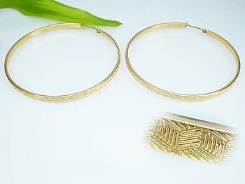 Zyta Náušnice chirugická ocel,  kruhy zlaté 20780