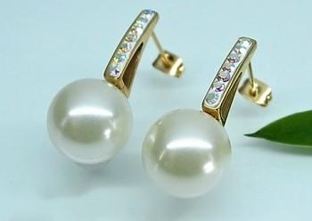 Zyta Náušnice ve zlaté oceli s perlou 20856