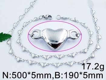 Zyta Set náramku a řetízku z chirurgické oceli srdce 20887
