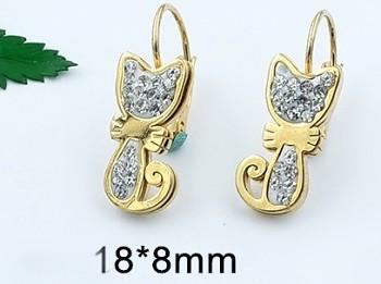 Zyta Náušnice z chirurgické oceli ve zlatém provedení kočka 20901